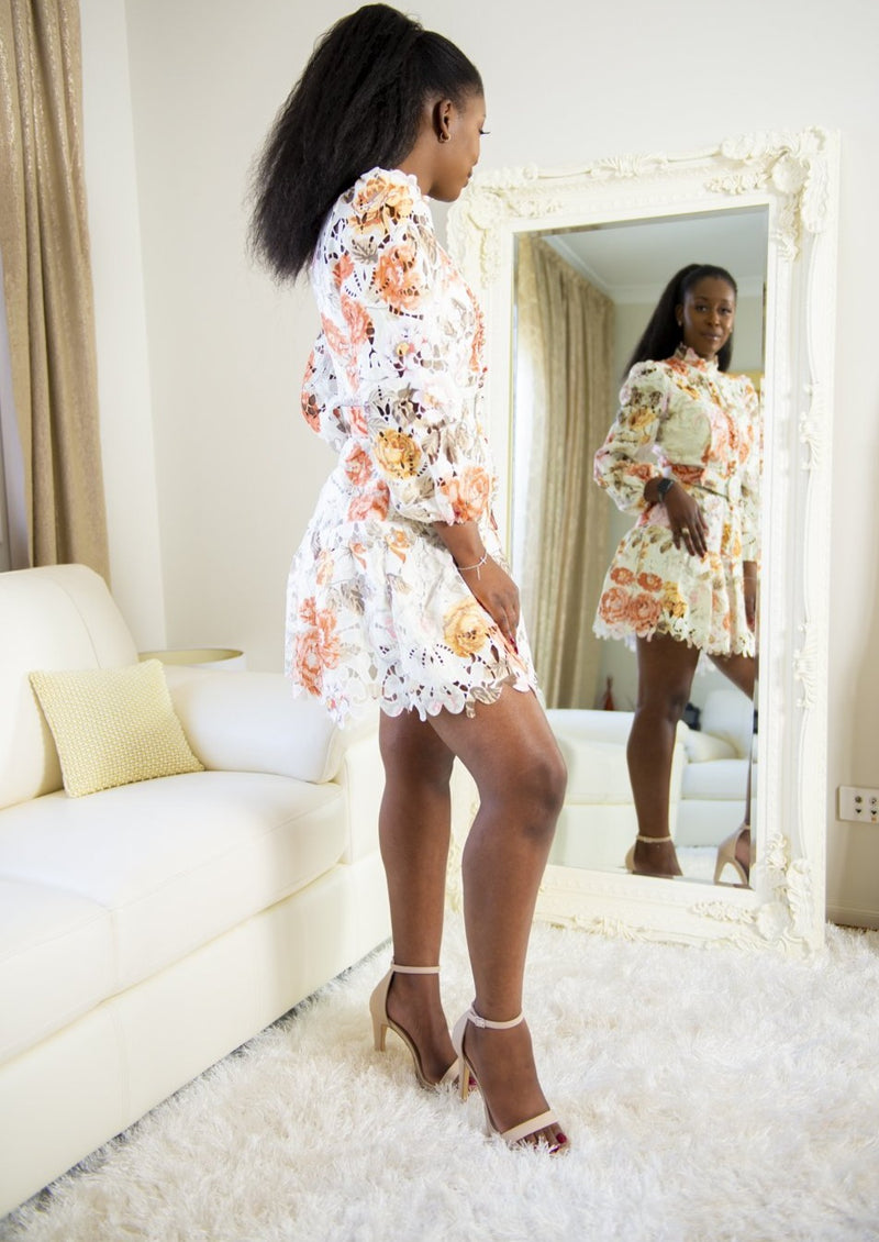 Roseline Floral Embroidered  Lace Dress