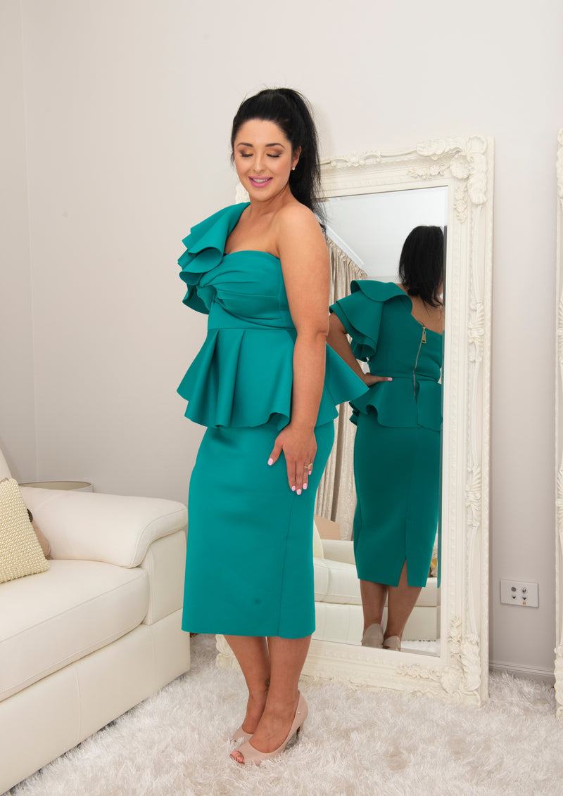 Jackie Turquoise One Shoulder Dress