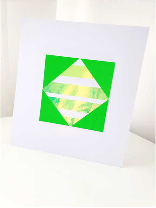 Square Neon Green Holographic Geometric Art Print