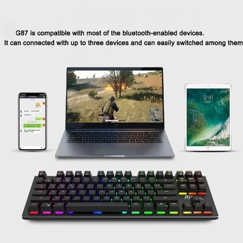 Wireless Keyboard G-87 87keys Bluetooth Wired Gaming Keyboard for PC/IOS/iPad/Mac