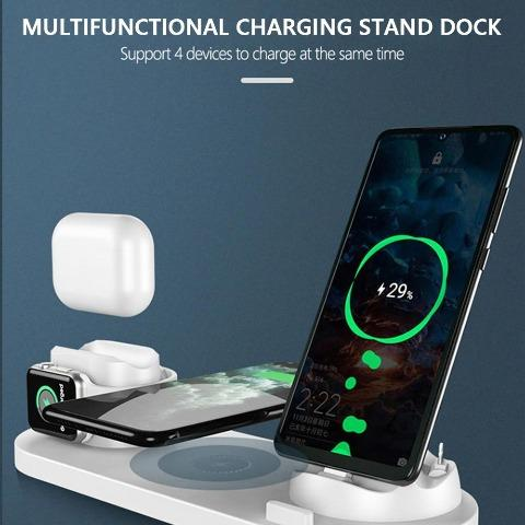 Wireless Charger 6 in 1 Fast Charging Dock Station USB Type-C Stand