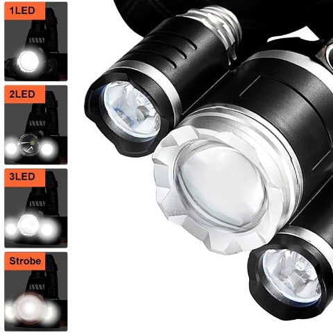 Headlamp Flashlight Rechargeable 3 T6 LED Hard Hat Headlight Battery