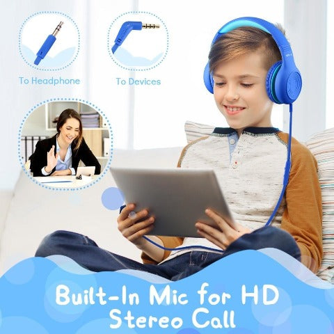 Kids Headphones With Microphone Wired Headphone with 3.5mm Audio jack