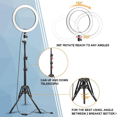 Ring Light with Stand LED Selfie Ring for iPhone Phone Holder