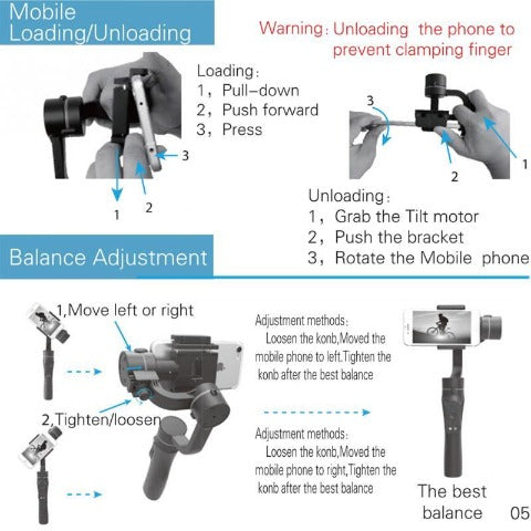Handheld Gimbal Stabilizer with Focus Pull and Zoom for iPhone Action Camera