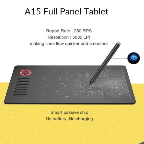 USB Graphics Drawing Tablet Board Kit 10x6 inches Digital Drawing Pad