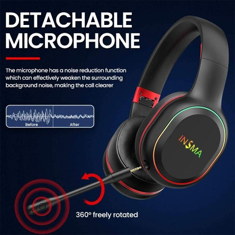 Wireless Headphone LED Light Bluetooth Headset with Mic For Xbox/PS4/Android