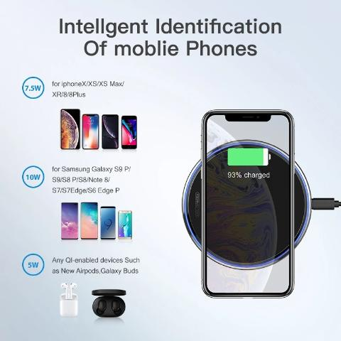 iPhone Wireless Charger 10W Qi iPhone 7/8/11/XR Wireless Charging Pad