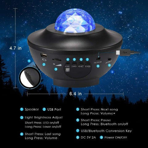 Galaxy Projector - Starry Ocean Wave With Smart Bluetooth Night Light