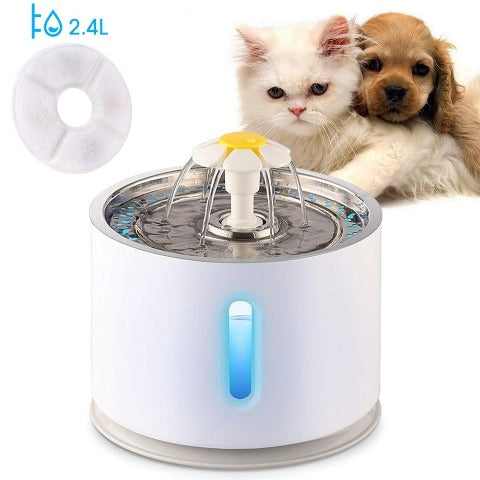 Cat Water Fountain With LED Electric Water Feeder Pet Drinking Fountain