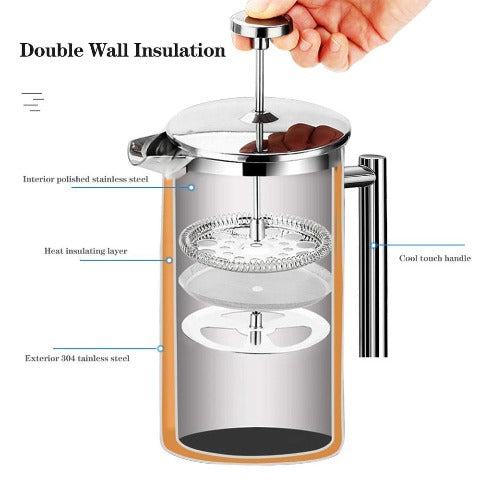 French Press Coffee Maker Stainless Steel Coffee Percolator with Large Capacity