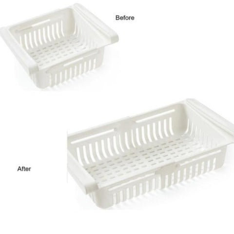 Fridge Food Organizer Freezer Shelf Holder Pull-out Drawer Storage Rack