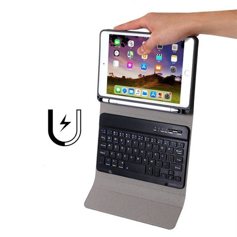 Keyboard For iPad - Detachable Bluetooth Keyboard Case Leather Stand For Tablet