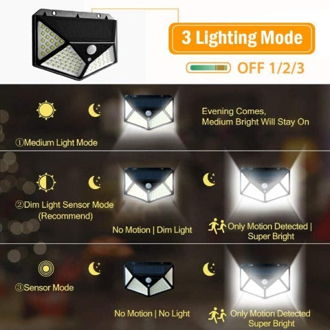 Outdoor Solar Lights 100 Led Bright Light Waterproof Garden Wall Street Lamp