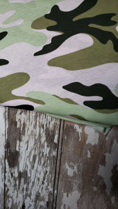 Camo  Blush/Mint/Sage T-shirt jersey Fabric