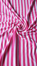 Load image into Gallery viewer, Pink/White Striped Fine Jersey Fabric (HALF YARD INCREMENT)