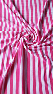 Pink/White Striped Fine Jersey Fabric (HALF YARD INCREMENT)