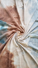 Load image into Gallery viewer, Tie-Dye Taupe/Teal/Light brown French Terry Fabric