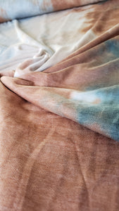 Tie-Dye Taupe/Teal/Light brown French Terry Fabric
