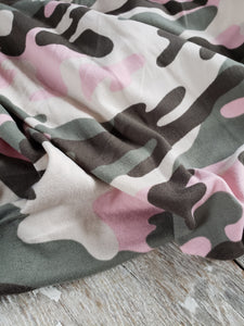 Camo Seaweed Sage and Pink DBP fabric