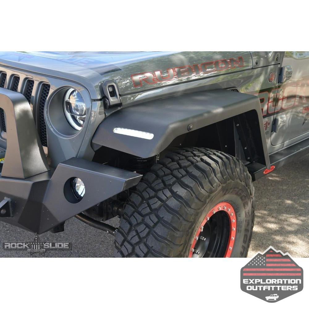 Jeep-JL-Front-Fender-Flares-For-18-Pres-Wrangler-JL-With-OEM-LED-Light-Package--by-Rock-Slide-Engineering
