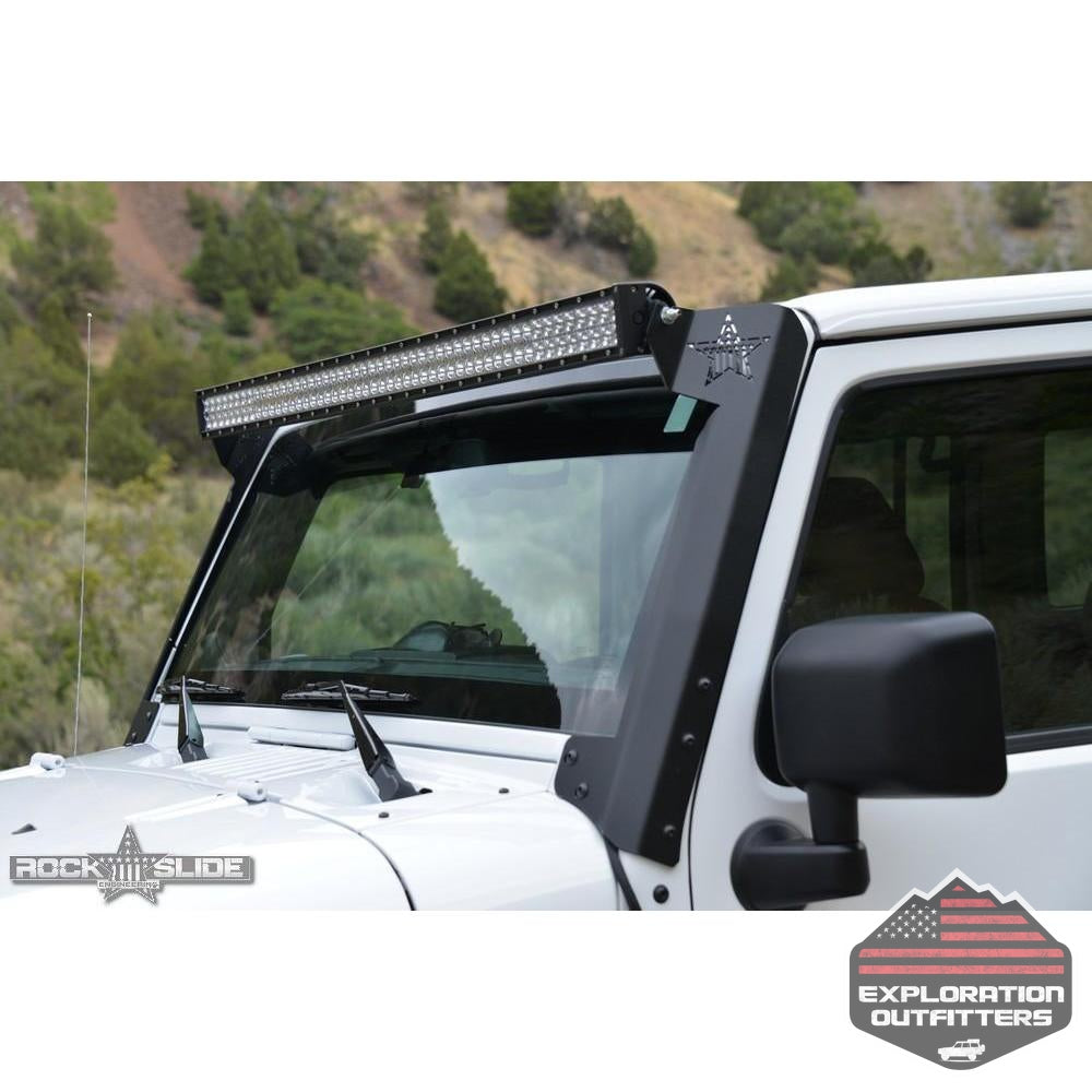 Jeep-JK-50-Inch-LED-A-Pillar-Brackets-for-07-18-Wrangler-JK--by-Rock-Slide-Engineering