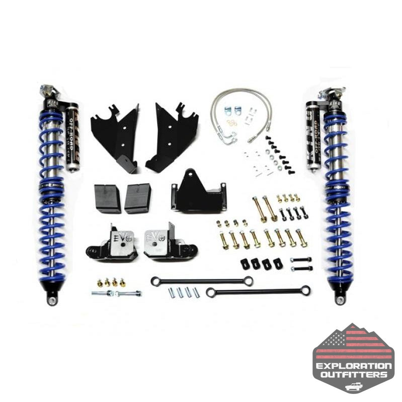 Jeep JK Coilover Kit Rear Bolt On with C/Os 07-18 Wrangler JK Black with Compression Adjusters Aftermarket Rear Axle EVO Mfg - Explorationoutfitters.com