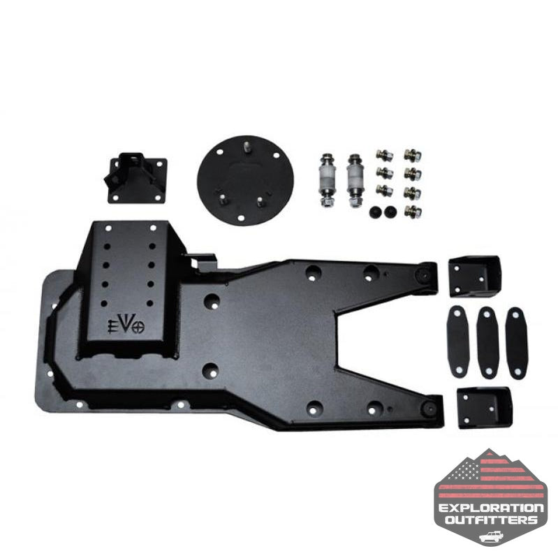 Jeep JK Pro Series Hinged Gate Carrier 07-18 Wrangler JK Black EVO Manufacturing - Explorationoutfitters.com
