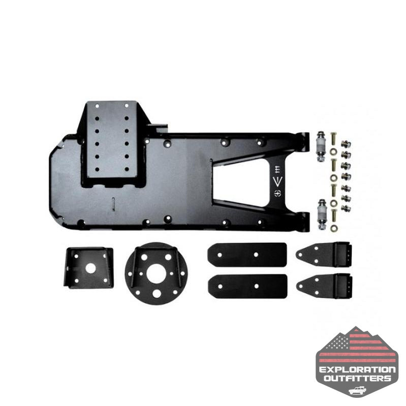 Jeep JL HD Hinge Tire Carrier 18-Present Wrangler JL Black Powdercoat EVO Manufacturing - Explorationoutfitters.com