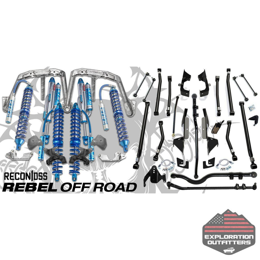 "Recon DSS 2.5 12"" Front w/ 2.5 14"" Rear Coilovers & Teraflex Alpine Long Arm Suspension Conversion for Jeep Wrangler JK 2007-2018 - by Rebel Off Road-Rebel Off Road-Explorationoutfitters.com"