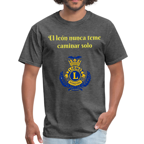 Image of Camiseta El León Nunca teme Caminar Solo - Lions Club Valencia - heather black