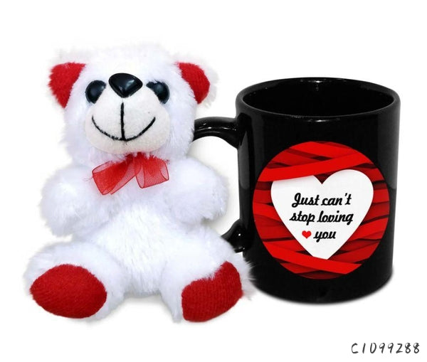 Just Can't Stop Loving You Ceramic Mug With Teddy