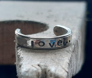 "Open image in slideshow, Sterling silver toe ring with the word ""Love"""