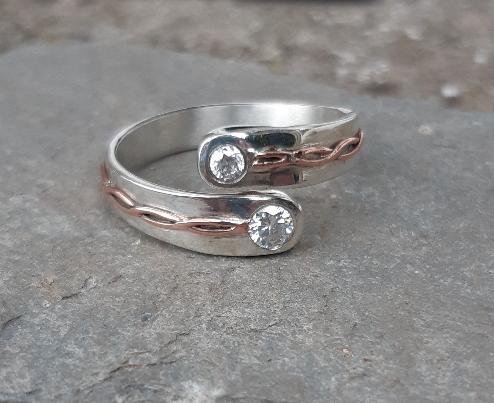 Bespoke thumb ring in 9ct white gold with diamonds
