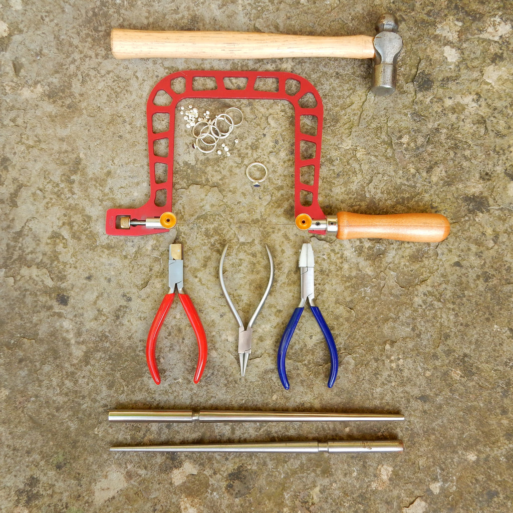 Selection of jewellery tools and scrap silver