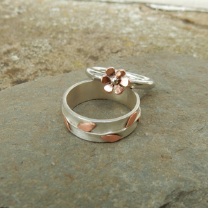 Silver & copper flower ring and silver and copper leaf ring