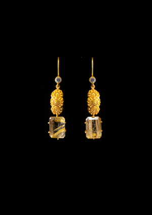 Creolla Earrings with Rutilated Quartz & White Sapphires