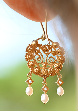 Creolla Earrings with White Sapphires & Seed Pearls