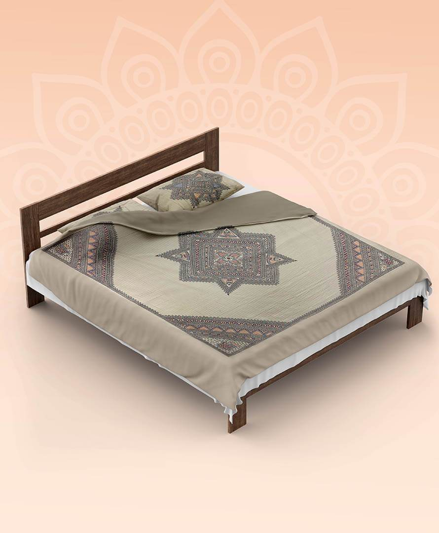 Handpainted Brown Fish Double Bedsheet With Pillow Cover Mithila Gram