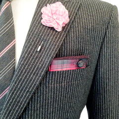 Pink and White Gingham Lapel Flower Pin by The Detailed Male