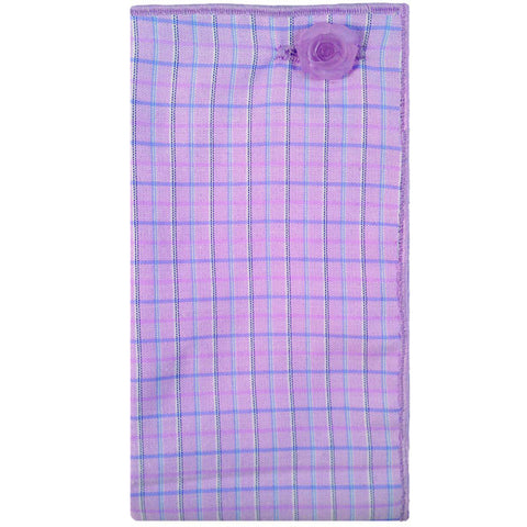 Purple and Blue Plaid Pocket Square with Purple Button - The Detailed Male
