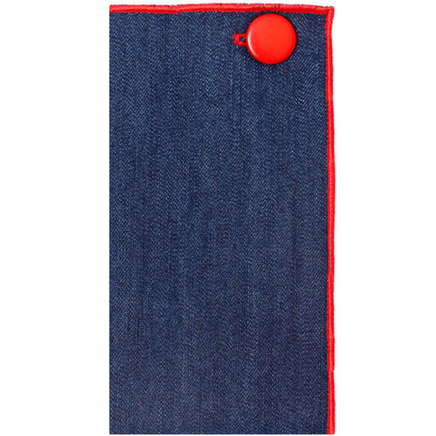 Dark Denim Pocket Square with Red Metal Button - The Detailed Male