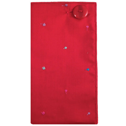 Red and Multicolored Dot Pocket Square with Red Button - The Detailed Male