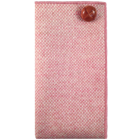 Blush Pink and Cream Wool Pocket Square with Tan Leather Button - The Detailed Male