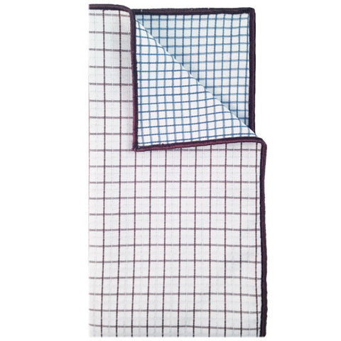 White, Brown and Blue Plaid Pocket Square - The Detailed Male