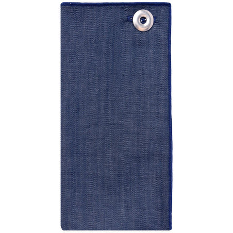 Blue Denim Pocket Square with Silver Metal Button - The Detailed Male