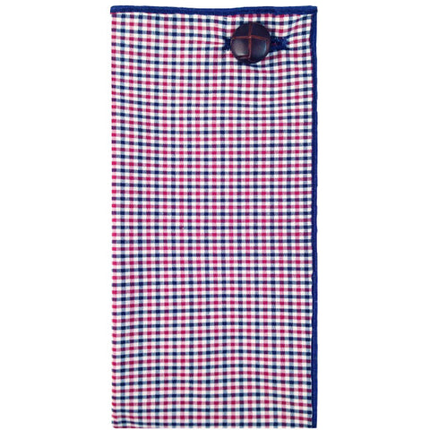 Maroon, Navy Blue and White Mini Check Pocket Square with Leather Button - The Detailed Male