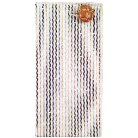 Cream and Tan Stripe Pocket Square with Tan Button - The Detailed Male