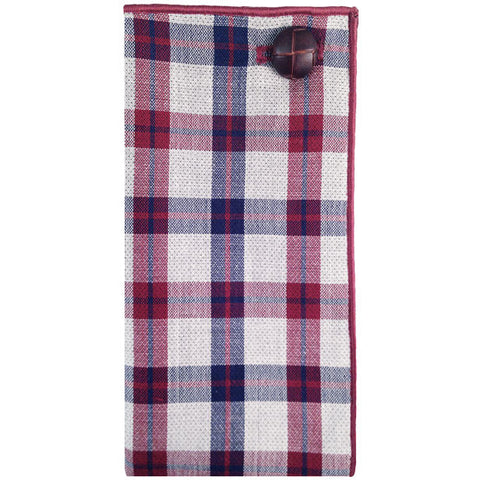 Maroon, Gray and Navy Blue Plaid Pocket Square - The Detailed Male