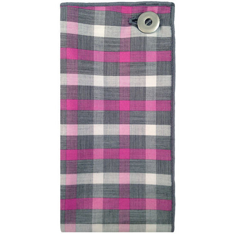 Gray, White and Pink Plaid Pocket Square with Silver Metal Button - The Detailed Male